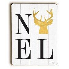 Noel Gold Reindeer Wooden Wall Décor