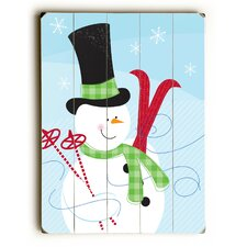 Snowman with Skis Graphic Art