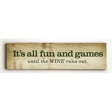 'All Fun and Games' Textual Art on Plaque