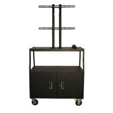 Flat Panel AV Cart with Cabinet and 4 Outlets