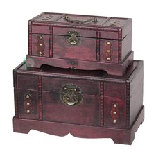 Antique Wooden Trunk, Old Treasure Trunk (2 Piece Set)