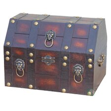 Antique Pirate Treasure Chest with Lion Rings