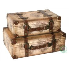 Old World Map Leather Vintage Style Trunk
