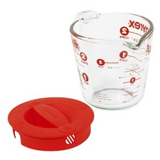 Prepware 2 Cup Measuring Cup with Red Plastic Cover in Clear