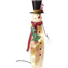 Crackle Glass and Metal Snowman Light