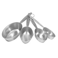 4 Piece Stainless Steel Measuring Cup Set with Gray Handle