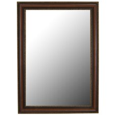 Polynesian Coco Brown Gold Trim Framed Wall Mirror