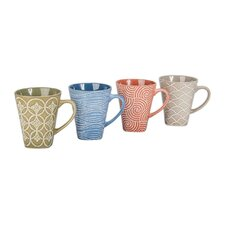 4 Piece 16 oz. Geo Flare Mug Set (Set of 4)