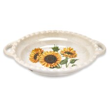 Sunflower Oval Scalloped Serving Bowl With Handles