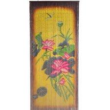 Natural Bamboo Earthtone Florals Single Curtain Panel