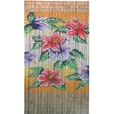 Natural Bamboo Tropical Flowers Single Curtain Panel