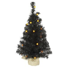 2' Black Artificial Christmas Tree with 25 LED Orange Lights