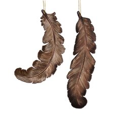 Feather Matte-Glitter Christmas Ornament (Set of 6)