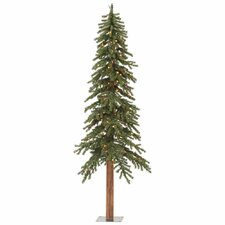 Natural Alpine 8' Green Artificial Christmas Tree with 500 Multi-Colored Lights