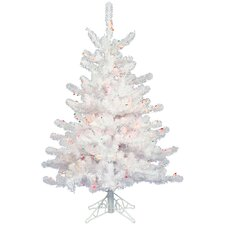 Crystal White 2' Artificial Christmas Tree with 50 Dura-Lit Multi-Colored Lights