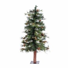 Mixed Country Alpine 3' Green Pine Artificial Christmas Tree with 50 LED White Lights with Stand