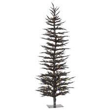 6' Black Laser Artificial Christmas Tree with 150 LED Orange Lights