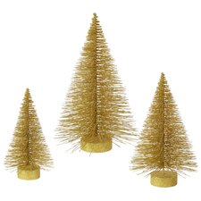 3 Piece Glitter Fat Christmas Tree Set
