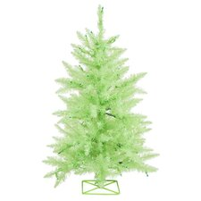 3' Sparkling Chartreuse Green Artificial Christmas Tree with Green Lights