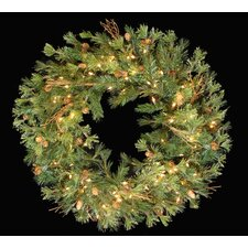 Mixed Country Pine Artificial Christmas Wreath with Lights