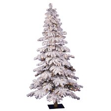 Flocked Spruce Alpine 4' White Artificial Christmas Tree with 150 Clear Lights