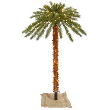 6' Green Outdoor Palm Artificial Christmas Tree with 300 Clear Lights