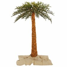 6' Green Outdoor Palm Artificial Christmas Tree with 500 Clear Lights