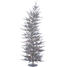Colorful Laser 5' Silver Artificial Christmas Tree with 100 Clear Lights