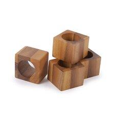 Acacia Cube Napkin Ring (Set of 4)
