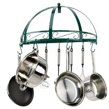 Classicor Semi-Circle Wrought-Iron Wall-Mount Pot Rack, Green Enamel