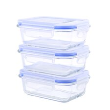 Go Green Glasslock Elements 6 Piece  Rectangular Oven Safe Glass Food Storage Container with Vented Lid 12 oz. Each (Set of 3)