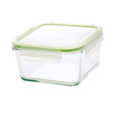 GoGreen Glassworks 15 oz. Square Oven Safe Glass Food Storage Container with Lid