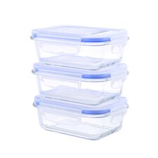 Glasslock Elements 6 Piece Rectangular Oven Safe Glass Food Storage Container Set with Vented Lid 22 oz. Each (Set of 3)