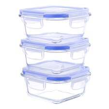Glasslock Elements 6 Piece Square Oven Safe Glass Food Storage Container Set with Vented Lid 27 oz. Each (Set of 3)