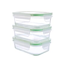 6-Piece Rectangular GoGreen Glassworks Oven Safe Glass Food Storage Container Set
