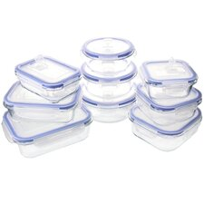 Glasslock Elements 18 Piece Oven Safe Glass Food Storage Container Set with Vented Lid