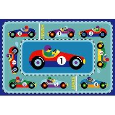 Olive Kids Vroom Car Blue Area Rug