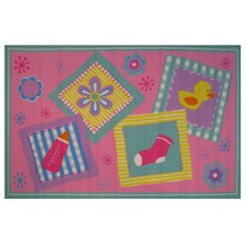 Fun Time Rockabye Baby Pink Area Rug