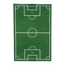Fun Time Soccer Field Sports Area Rug