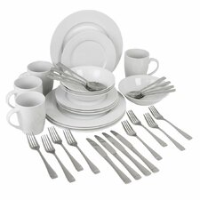 Exclusive 36 Piece Dinnerware & Flatware Set