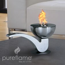 Pureflame Pipe Stainless Steel Bio-Ethanol Tabletop Fireplace