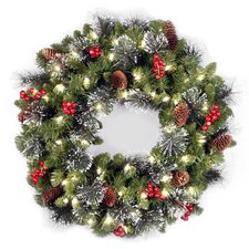 Crestwood Spruce Pre-Lit Wreath with Clear Lights