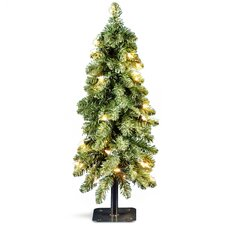 2' Green Downswept Artificial Christmas Tree with 50 Colored & Clear Lights