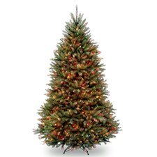 Dunhill Fir 7.5' Hinged Green Artificial Christmas Tree with 750 Multicolored Lights