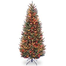 Natural Fraser 7.5' Green Fir Slim Artificial Christmas Tree with 600 Colored & Multi Color Lights