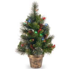 Crestwood Spruce 2' Green Small Artificia Christmas Tree with 35 Multicolored Lights with LED