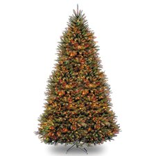 Dunhill Fir 10' Hinged Green Artificial Christmas Tree with 120 LED White/Multicolor Lights