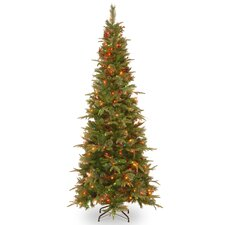 Colonial 7' Green Artificial Christmas Tree with 400 Incandescent Clear Lights with Stand