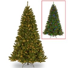 North Valley 7' Green Spruce Artificial Christmas Tree with 500 LED Colored and White Light with Stand