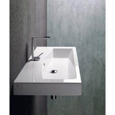 Losagna Modern Rectangular Ceramic Wall Mounted Vessel or Self Rimming Bathroom Sink